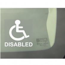 1 x Disabled Logo With Text Window Sticker-Disability Car Wheelchair Logo Sign-Self Adhesive Vinyl-Car,Van,Truck,Vehicle-Disabled,Disability,Mobility